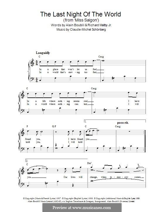The Last Night of the World: Einfache Noten für Klavier by Claude-Michel Schönberg