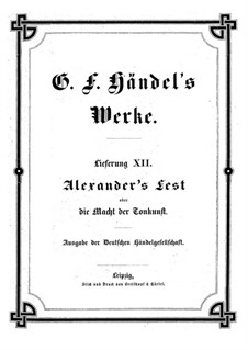 Alexander's Fest oder die Macht der Tonkunst, HWV 75: Vollpartitur by Georg Friedrich Händel