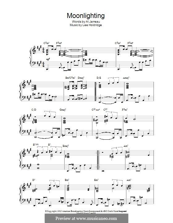Moonlighting (Al Jarreau): Für Klavier by Lee Elwood Holdridge