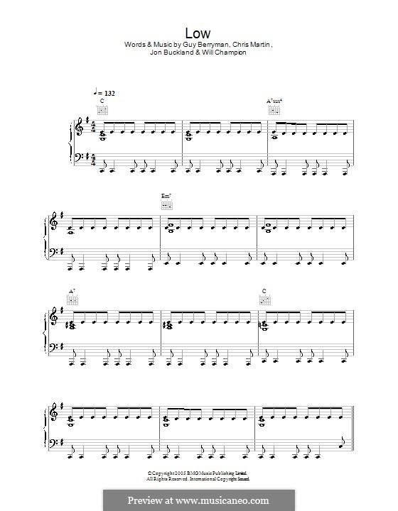 Low (Coldplay): Für Stimme und Klavier (oder Gitarre) by Chris Martin, Guy Berryman, Jonny Buckland, Will Champion