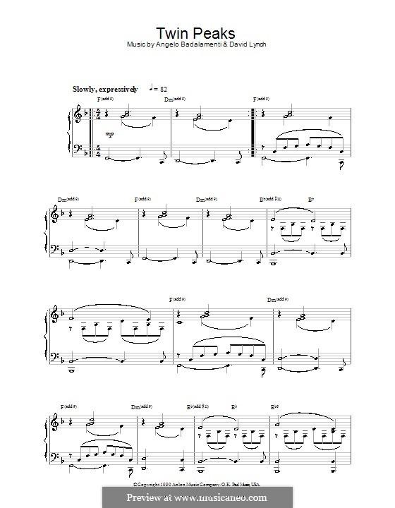 Theme from Twin Peaks: Für Klavier by David Lynch