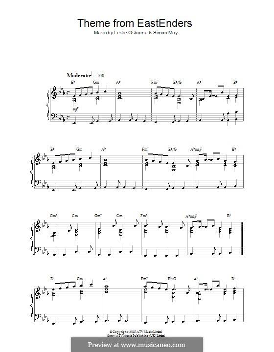 Theme from EastEnders: Für Klavier by Leslie Osborne, Simon May