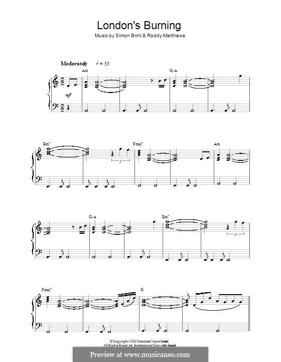 Theme from London's Burning: Für Klavier by Roddy Matthews, Simon Brint