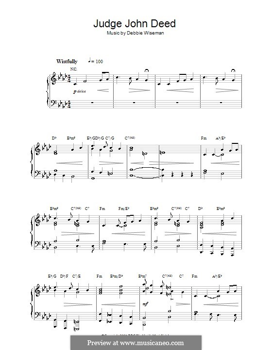 Judge John Deed: Für Klavier by Debbie Wiseman