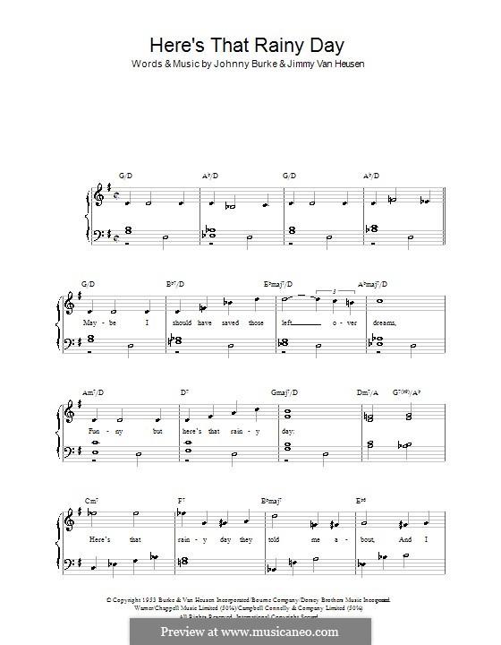 Here's That Rainy Day (Dionne Warwick): Für Klavier, leicht by Jimmy Van Heusen