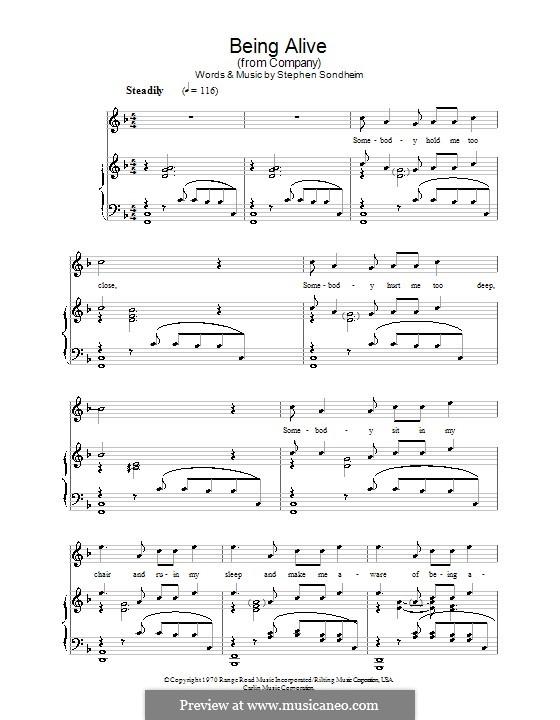 Being Alive (from Company): Für Stimme und Klavier by Stephen Sondheim