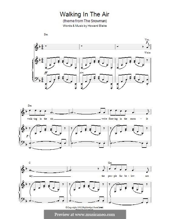 Walking in the Air: Für Stimme und Klavier (oder Gitarre) by Howard Blake