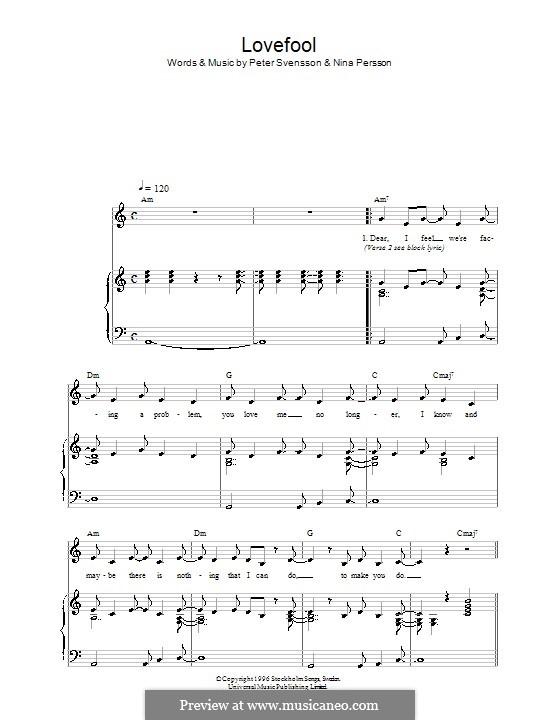Lovefool (The Cardigans): Für Stimme und Klavier (oder Gitarre) by Nina Persson, Peter Svensson