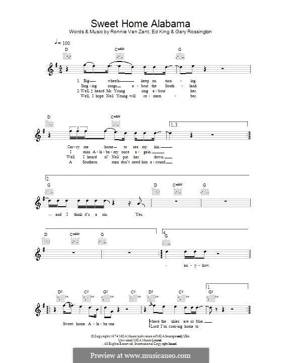 Sweet Home Alabama (Lynyrd Skynyrd): Melodie, Text und Akkorde by Ed King, Gary Rossington, Ronnie Van Zant