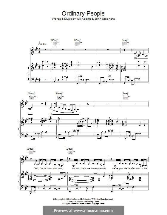 Ordinary People (John Legend): Für Stimme und Klavier (oder Gitarre) by John Stephens, will.i.am