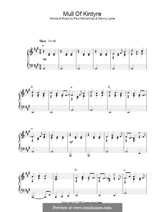 Mull of Kintyre (Wings): Für Klavier by Denny Laine, Paul McCartney