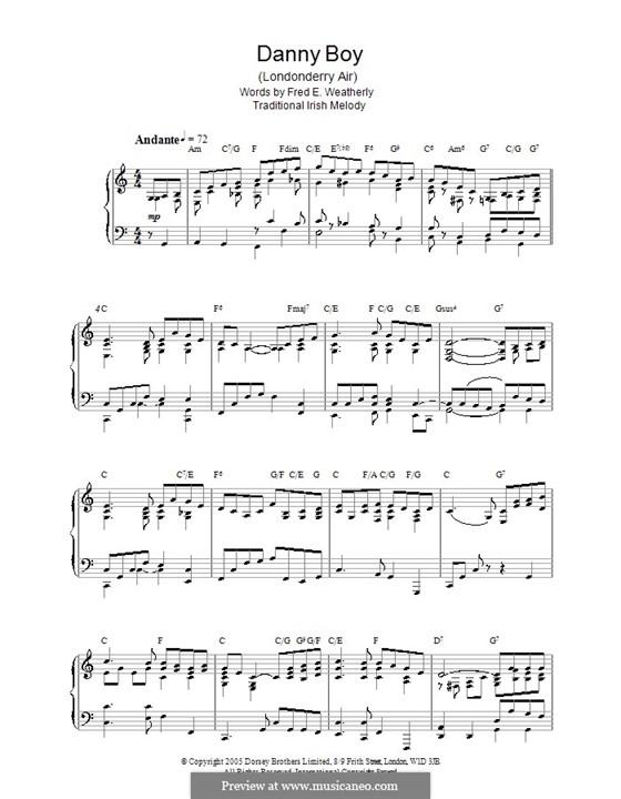 Danny Boy (Londonderry Air) Printable Scores: Für Klavier by folklore