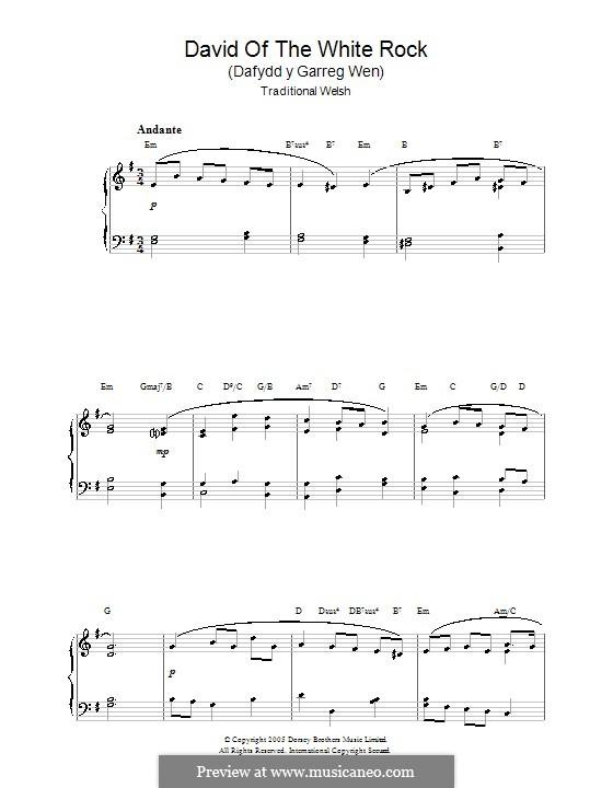David of the White Rock: Für Klavier by folklore