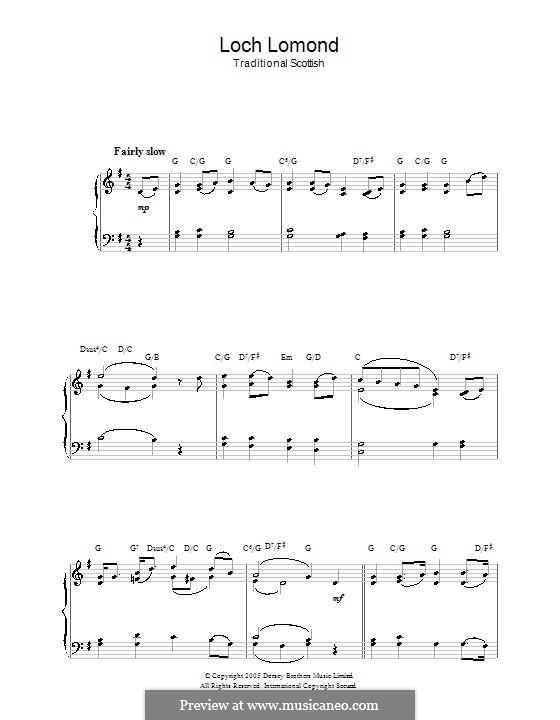Loch Lomond: Für Klavier by folklore