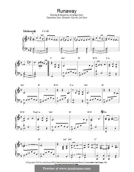 Runaway (The Corrs): Für Klavier by Andrea Corr, Caroline Corr, Jim Corr, Sharon Corr