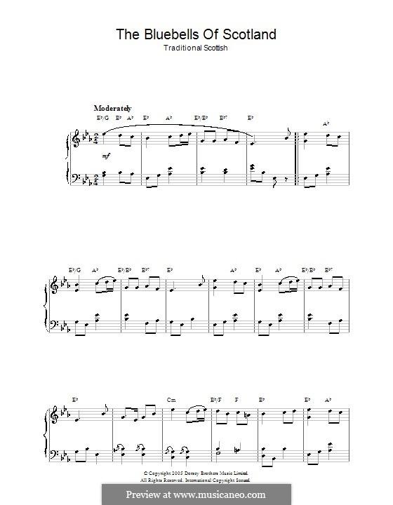 Blue Bells of Scotland: Für Klavier by folklore