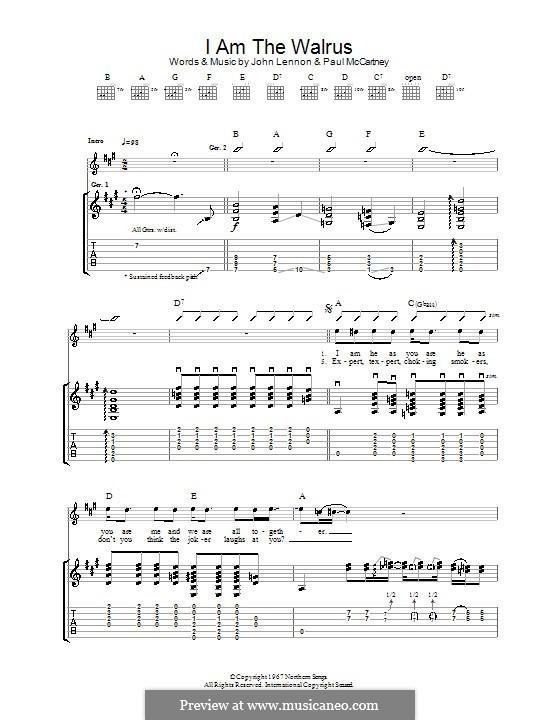 I am the Walrus (The Beatles): Für Gitarre by John Lennon, Paul McCartney