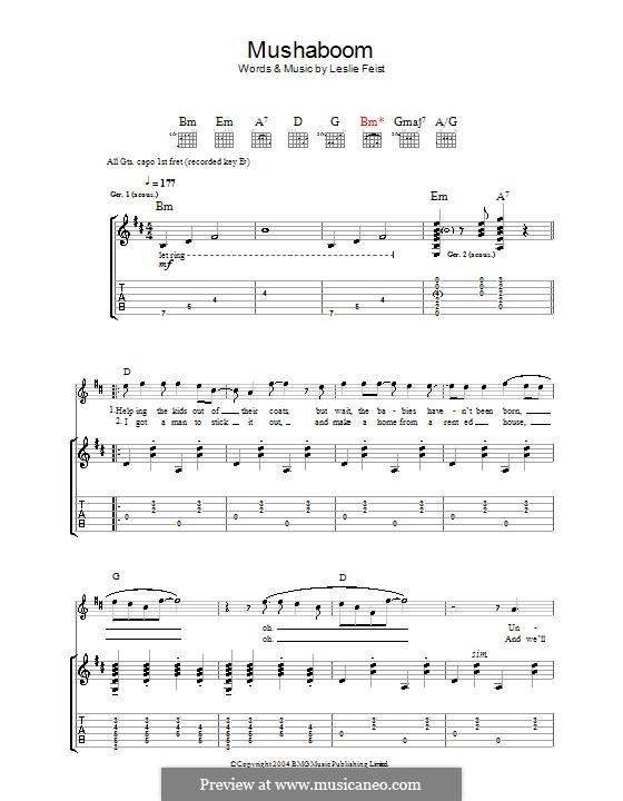 Mushaboom: Für Gitarre mit Tabulatur by Leslie Feist