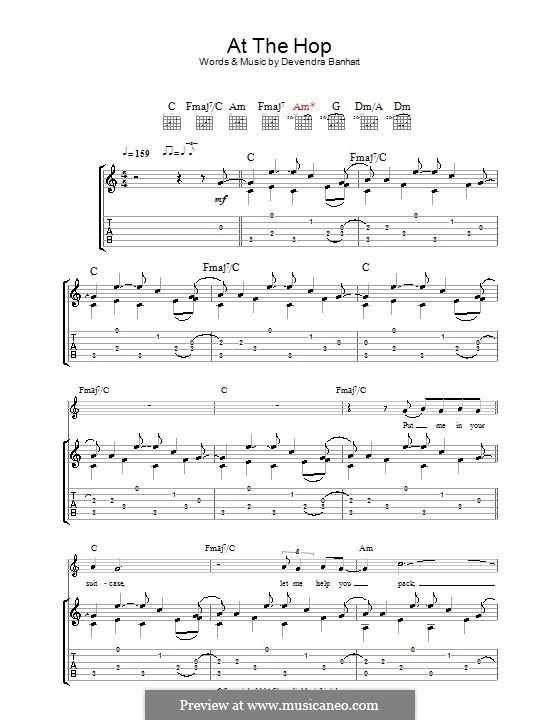 At the Hop: Für Gitarre mit Tabulatur by Devendra Banhart