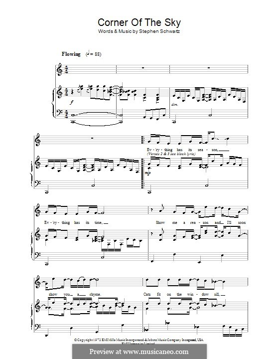 Corner of the Sky (from Pippin): Für Stimme und Klavier by Stephen Schwartz