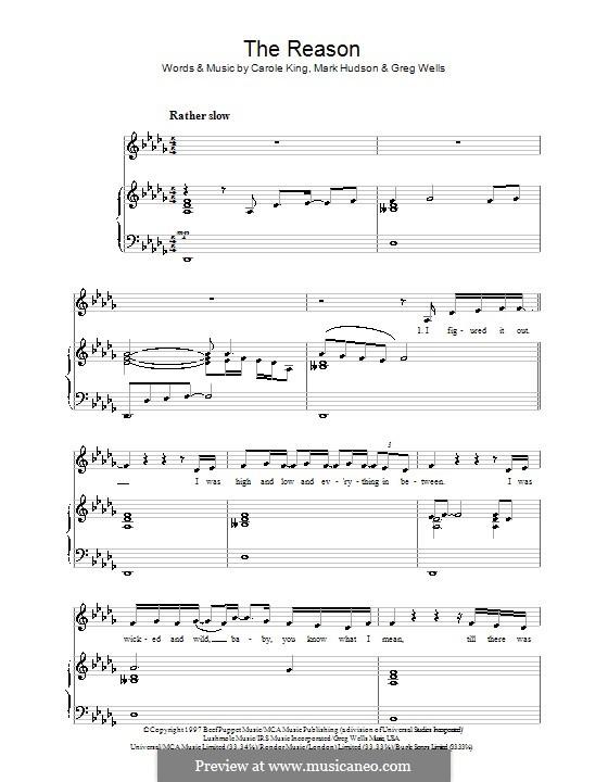 The Reason (Celine Dion): Für Stimme und Klavier by Carole King, Greg Wells, Mark Jeffrey Hudson