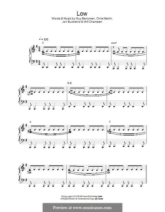 Low (Coldplay): Für Klavier, leicht by Chris Martin, Guy Berryman, Jonny Buckland, Will Champion