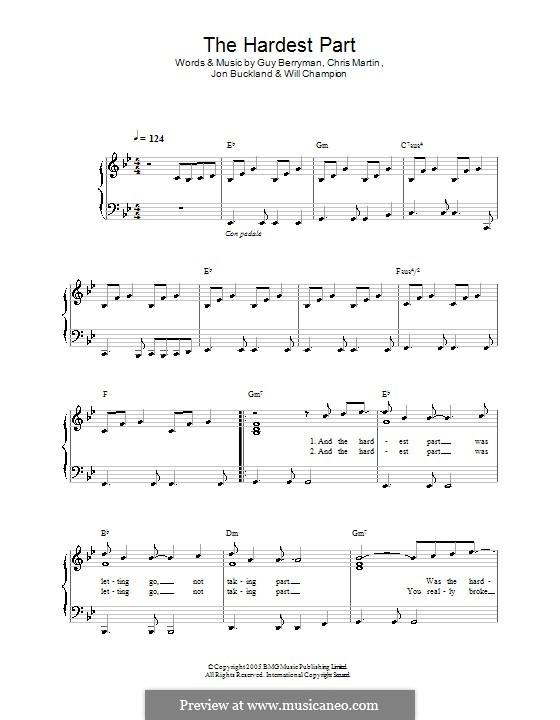 The Hardest Part (Coldplay): Für Klavier, leicht by Chris Martin, Guy Berryman, Jonny Buckland, Will Champion
