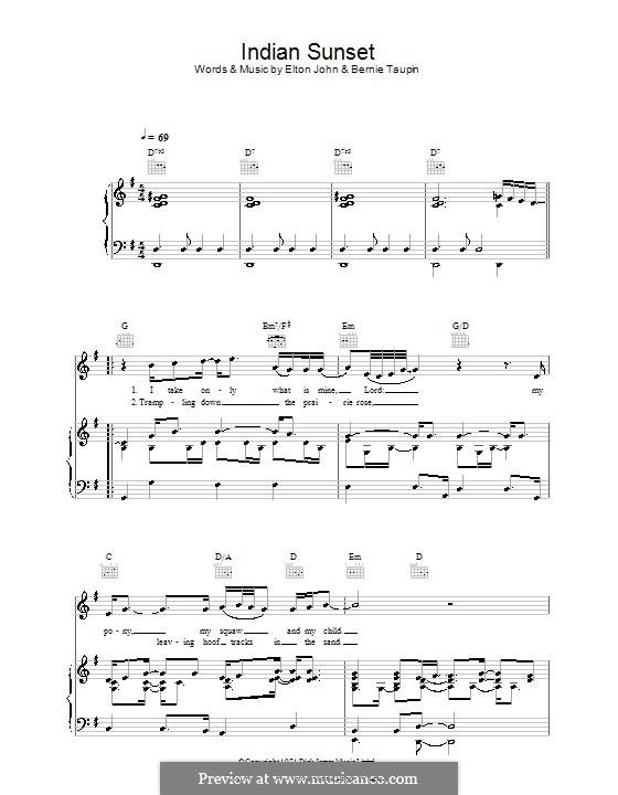 Indian Sunset: Für Stimme und Klavier (oder Gitarre) by Elton John
