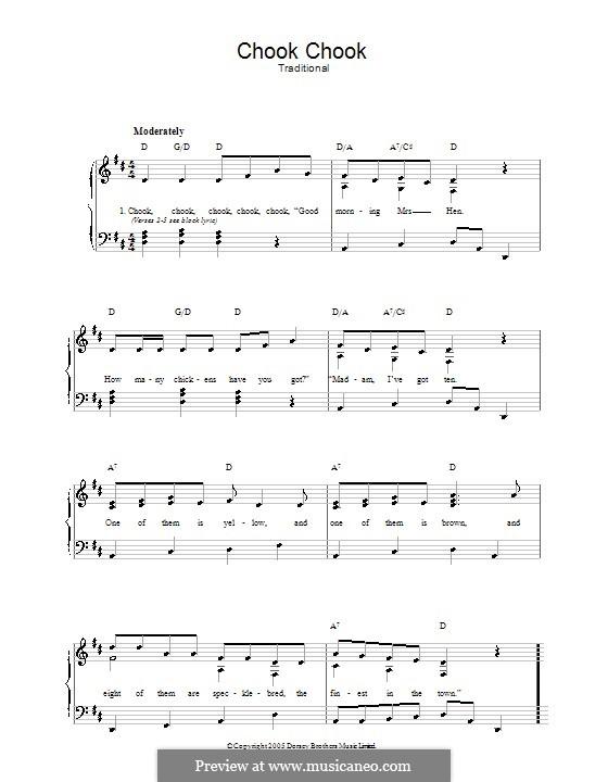 Chook Chook: Für Stimme und Klavier by folklore