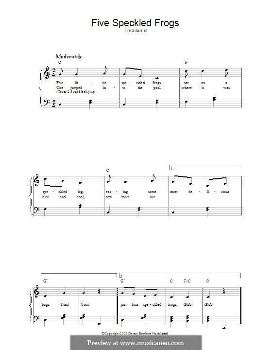Five Little Speckled Frogs: Für Stimme und Klavier by folklore
