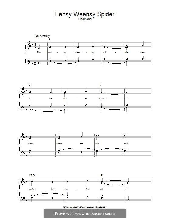 Eensy Weensy Spider: Für Stimme und Klavier by folklore