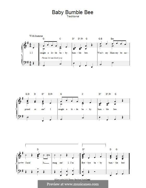 Baby Bumble Bee: Für Stimme und Klavier by folklore