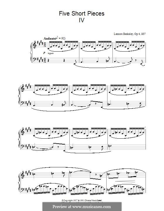 Five Short Pieces, Op.4: Stück Nr.4 by Lennox Berkeley