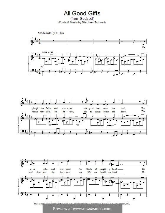 All Good Gifts (from Godspell): Für Stimme und Klavier by Stephen Schwartz