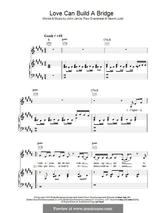 Love Can Build a Bridge: Für Stimme mit Klavier oder Gitarre (The Judds) by John Jarvis, Naomi Judd, Paul Overstreet