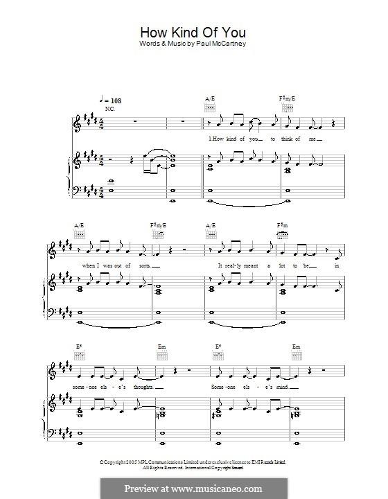How Kind of You: Für Stimme und Klavier (oder Gitarre) by Paul McCartney