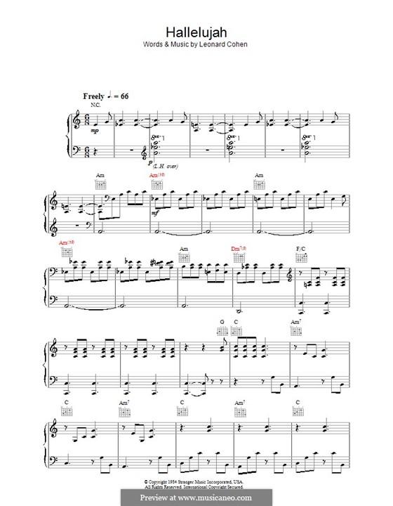 Hallelujah: Für Stimme mit Klavier oder Gitarre (A Minor) by Leonard Cohen