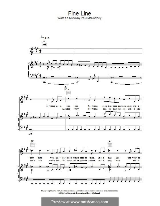 Fine Line: Für Stimme und Klavier (oder Gitarre) by Paul McCartney
