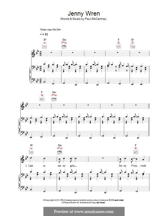 Jenny Wren: Für Stimme und Klavier (oder Gitarre) by Paul McCartney