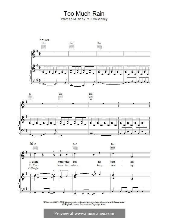 Too Much Rain: Für Stimme und Klavier (oder Gitarre) by Paul McCartney