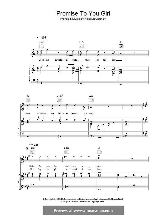 Promise to You Girl: Für Stimme und Klavier (oder Gitarre) by Paul McCartney