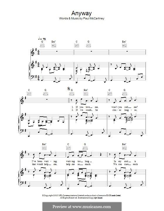Anyway: Für Stimme und Klavier (oder Gitarre) by Paul McCartney