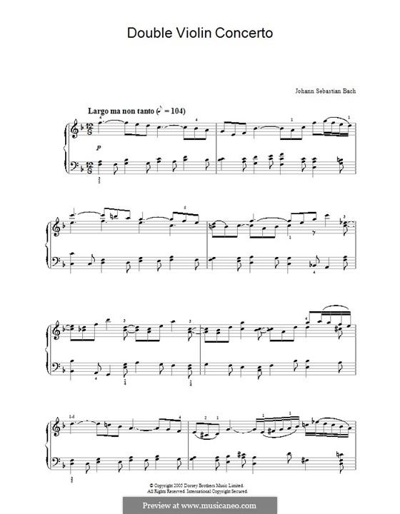 Doppelkonzert für zwei Violinen, Streicher und Basso Continuo in d-Moll, BWV 1043: Teil II. Version für Klavier by Johann Sebastian Bach