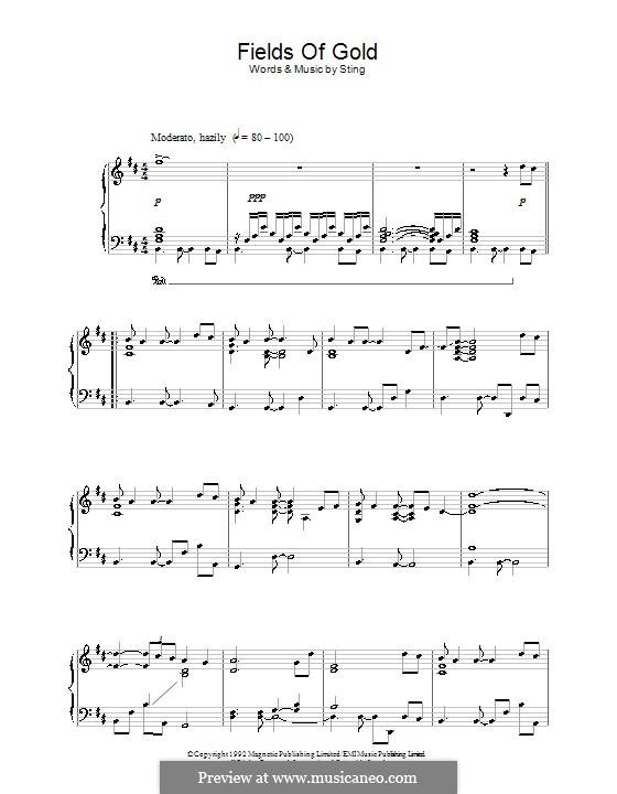 Fields of Gold: Für Klavier (Noten von hohem Qualität) by Sting