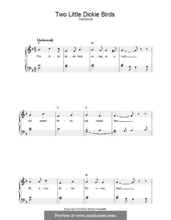 Two Little Dickie Birds: Für Stimme und Klavier by folklore