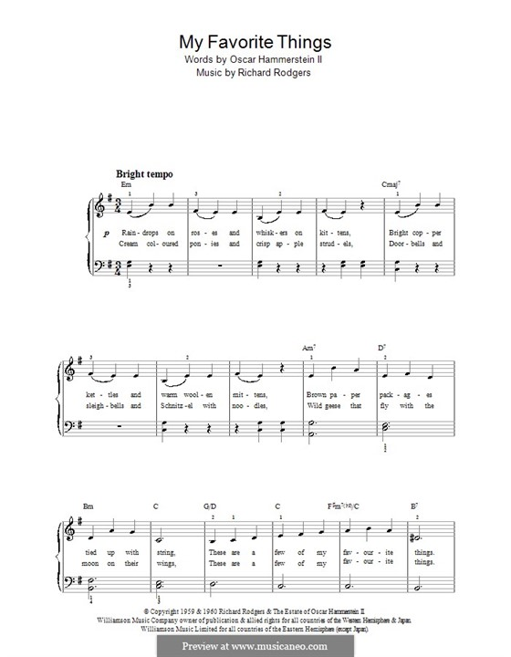 My Favorite Things (from The Sound of Music), for Piano: Version für leichtes Klavier (E Minor) by Richard Rodgers