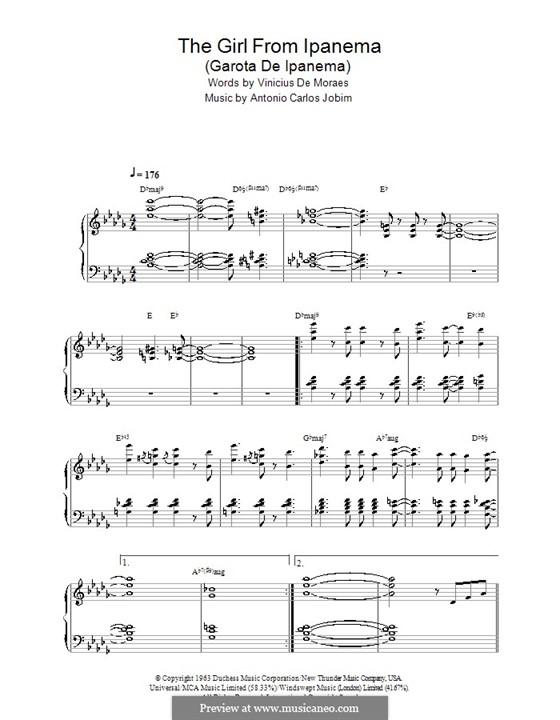 The Girl from Ipanema (Garota de Ipanema), for Piano: With chords by Antonio Carlos Jobim
