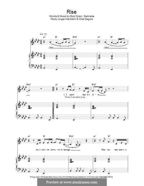 Rise: Für Stimme und Klavier by Gabrielle, Bob Dylan, Ferdy Unger-Hamilton, Ollie Dagois