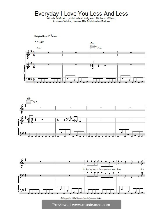 Everyday I Love You Less and Less (Kaiser Chiefs): Für Stimme und Klavier (oder Gitarre) by Andrew White, James Rix, Nicholas Baines, Nicholas Hodgson, Charles Wilson