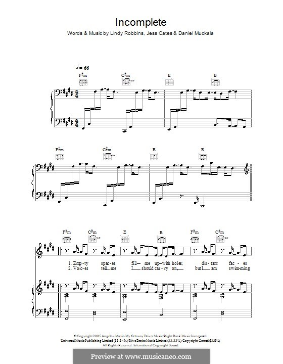 Incomplete (Backstreet Boys): Für Stimme und Klavier (oder Gitarre) by Dan Muckala, Jess Cates, Lindy Robbins